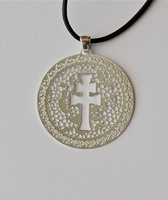 MEDAL CROSS OF CARAVACA IN MODERNIST DESIGN PENDANT SILVER