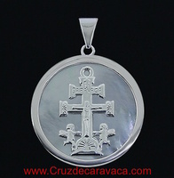 MEDALLA CRUZ DE CARAVACA NACAR Y PLATA DE LEY