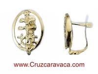 ORECCHINI ORO CRESCENT CROCE DI CARAVACA CON ANGELES PER DONNA