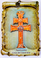 PARCHMENT CROSS OF CARAVACA TO RELIEF WITH MAGNET