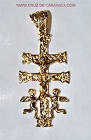 PENDANT CROSS OF CARAVACA WITH ANGELS D'ORO C573