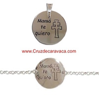 "PENDANT OR BRACELET CROSS OF CARAVACA WITH THE LEGEND ""I LOVE YOU MOM"""