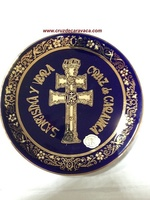 PLATE CARAVACA CROSS  IN COBALT AND LARGE ENAMEL