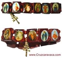 PULSERA ADVOCACIONAL CON LA CRUZ DE CARAVACA, JESÚS Y LA VIRGEN