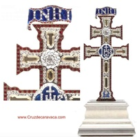 REPLICA CROSS OF CARAVACA WITH SWAROVSKI STONES ON PEANA