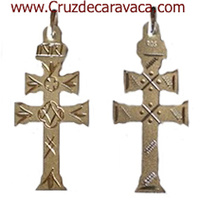 SILVER CARAVACA CROSS CARVED BY HAND TO THE BIG TWO-FACE SMALL