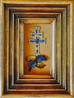 TABLE CROSS OF CARAVACA DE METAL ENAMELLED AND CARVED FRAME