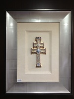 TABLE OF CROSS CARAVACA (REPLICA) MOUNTED FRAMED IN SILVER PAN RELIEF