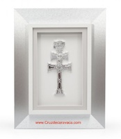 TABLE OF THE CROSS OF CARAVACA WITH SILVER WOODEN FRAME