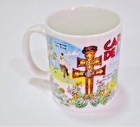 TAZA DIBUJOS CASTILLO, CRUZ CARAVACA Y CABALLOS DEL VINO.