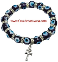 TURKISH BLUE EYE GLASS  AND CROCE DI CARAVACA IN BRACELET