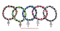 TURKISH EYE AND CROCE DI CARAVACA IN BRACELET -CHOICE OF 5 COLORS-