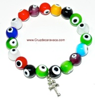 TURKISH EYE GLASS  AND CROCE DI CARAVACA IN BRACELET