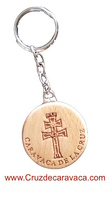 WOOD KEY CHAIN WITH CROSS CARVED IN SHALLOW RELIEF CARAVACA